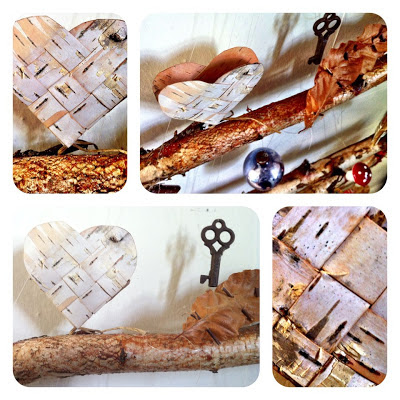 Homemade birch bark Christmas tree decoration