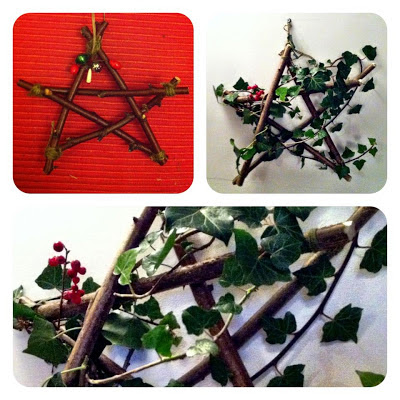 Homemade wooden Christmas star decoration